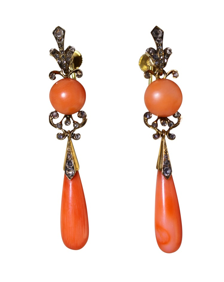 Pair of Antique 18 Karat Gold, Coral and Diamond Pendant Earclips
