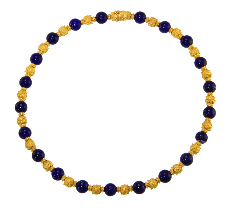 18 Karat Gold and Lapiz Lazuli Necklace