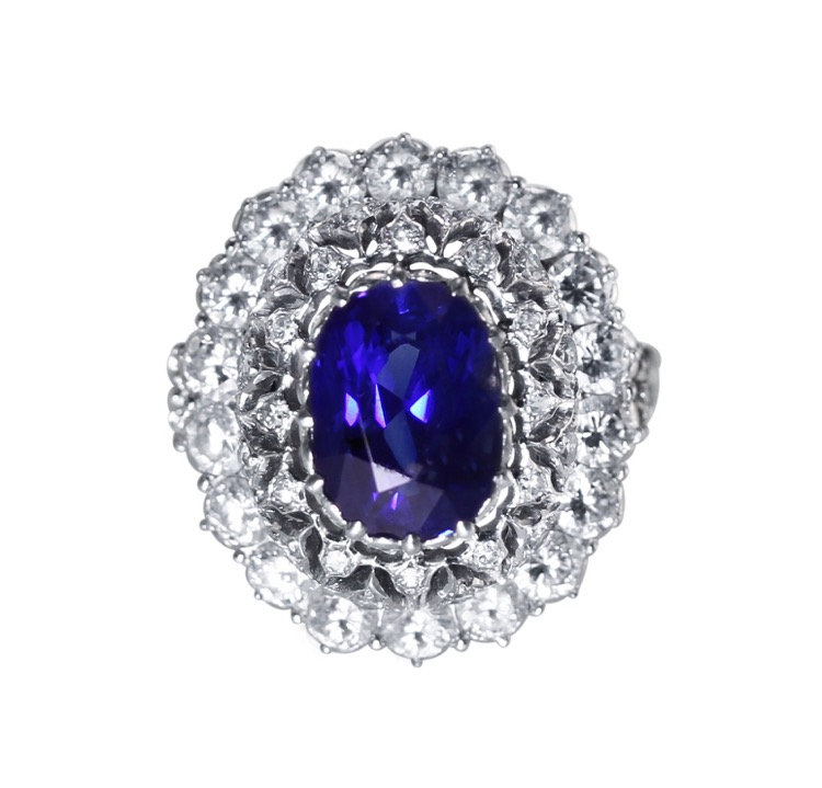 Platinum, Sapphire and Diamond Ring by Buccellati, Italy