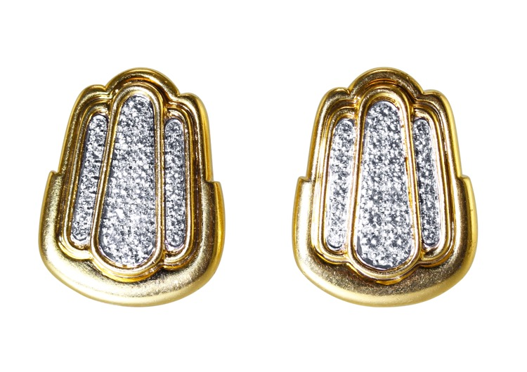 Pair of 18 Karat Gold and Diamond Earclips by David Webb