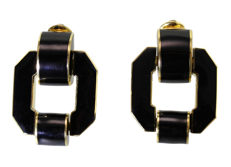 Pair of 18 Karat Gold and Enamel Earclips by David Webb