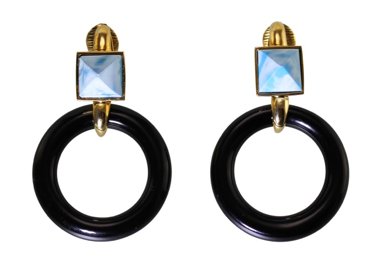 Pair of 18 Karat Gold, Pectolite and Onyx Earrings by Aldo Cipullo