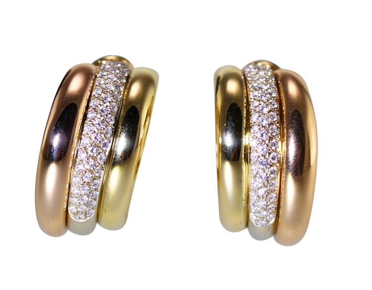 Pair of 18 Karat Two-Tone Diamond Earclips by Cartier, Circa 1995