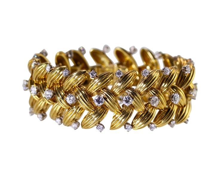 18 Karat Gold, Platinum and Diamond Bracelet