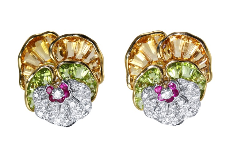 Pair of 18 Karat Gold, Platinum, Citrine, Peridot, Pink Sapphire and Diamond