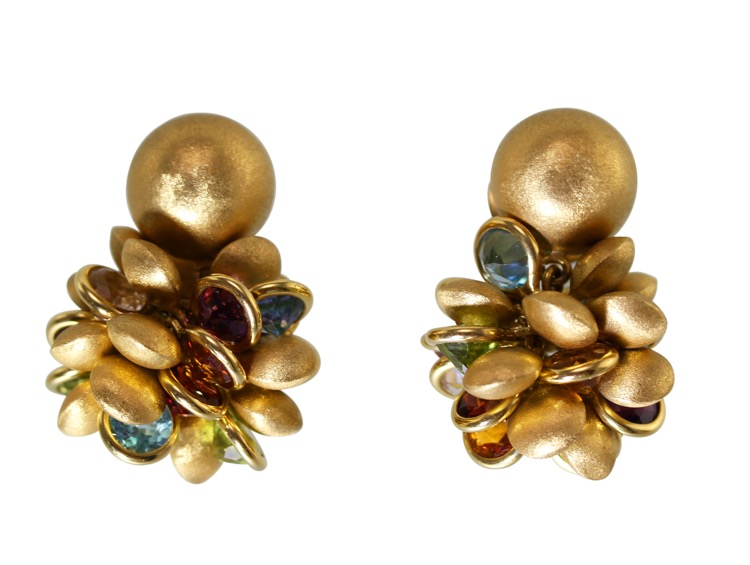 Pair of 18 Karat Gold and Multi-Color Gemstone Earrings by H. Stern