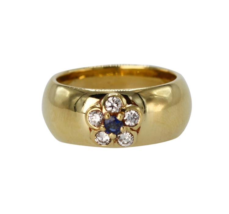 18 Karat Gold, Sapphire and Diamond Ring by Van Cleef & Arpels, France