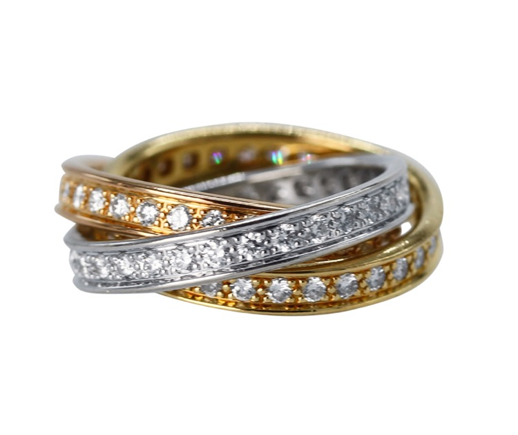 18 Karat Tri-Color Gold and Diamond Trinity Band by Cartier, France