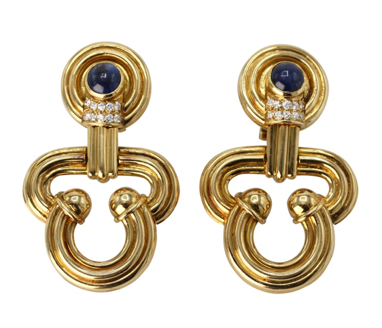 Pair of 18 Karat Gold, Sapphire and Diamond Earclips