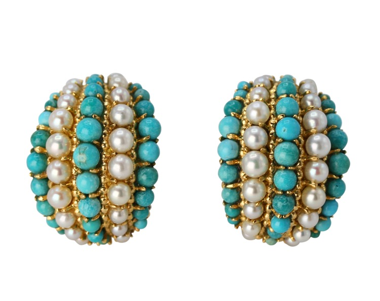 Pair of 18 Karat Gold, Turquoise and Cultured Pearl Earclips by Van Cleef & Arpels, France, circa 1970