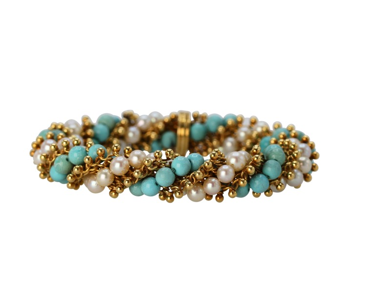 18 Karat Gold, Turquoise and Cultured Pearl Bracelet by Van Cleef & Arpels, France, circa 1970