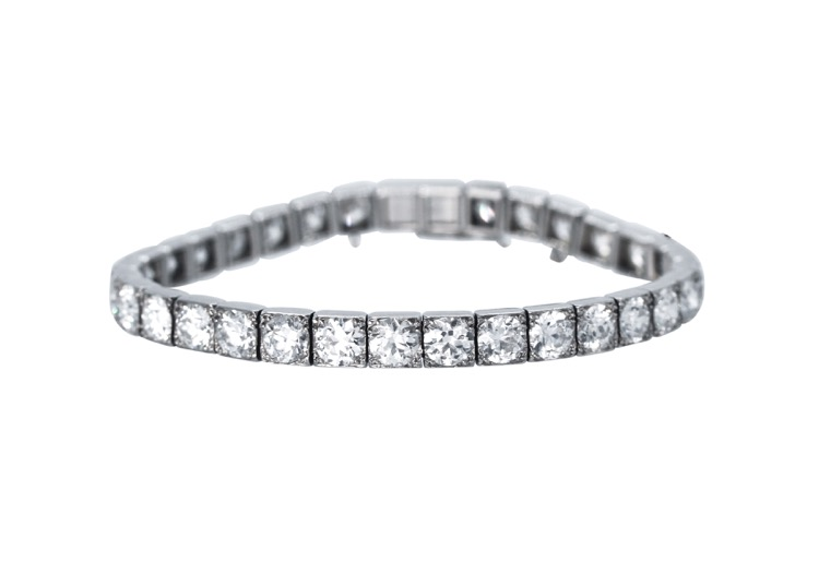 Art Deco Platinum and Diamond Straightline Bracelet by Cartier, Paris - Image #1