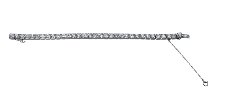 Art Deco Platinum and Diamond Straightline Bracelet by Cartier, Paris - Image #3