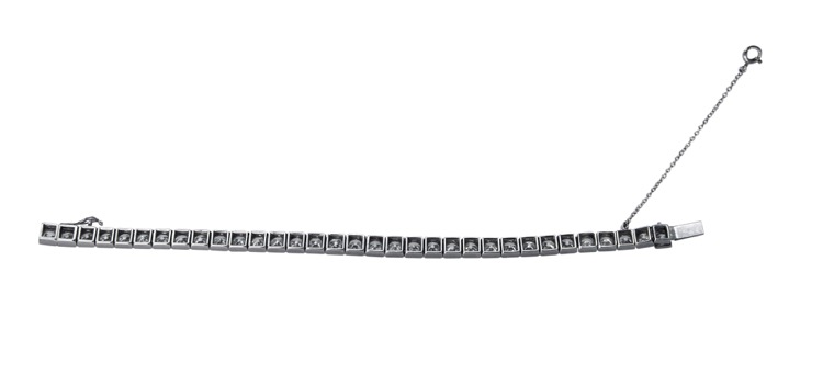 Art Deco Platinum and Diamond Straightline Bracelet by Cartier, Paris - Image #4