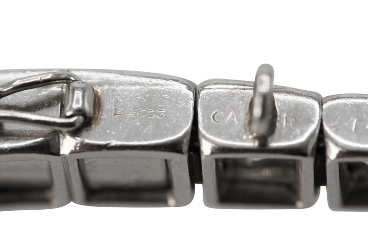 Art Deco Platinum and Diamond Straightline Bracelet by Cartier, Paris - Image #6