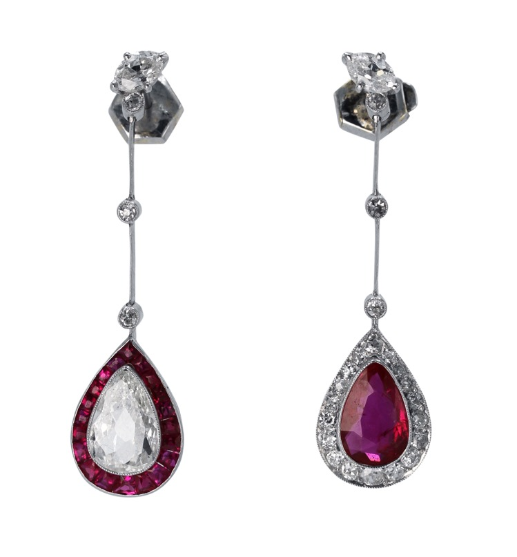 Pair of Edwardian Platinum, Ruby and Diamond Pendant-Earrings