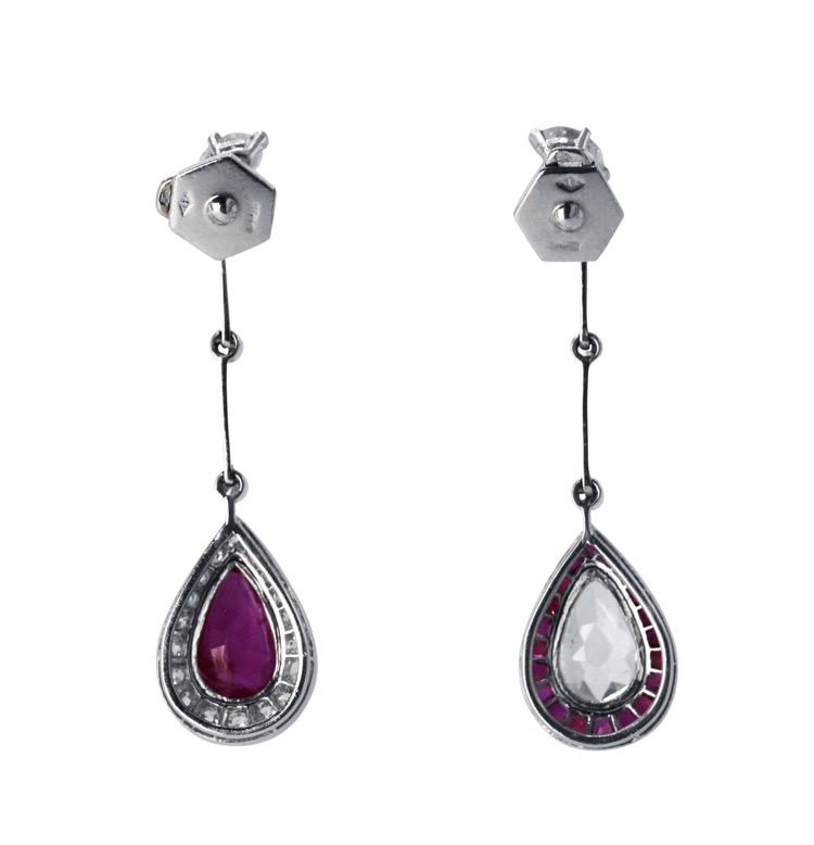 Pair of Art Deco Platinum, Ruby and Diamond Pendant-Earrings - Image #3