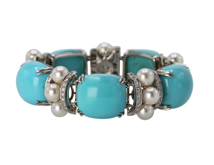 18 Karat White Gold, Turquoise, Cultured Pearl and Diamond Bracelet by Seaman Schepps