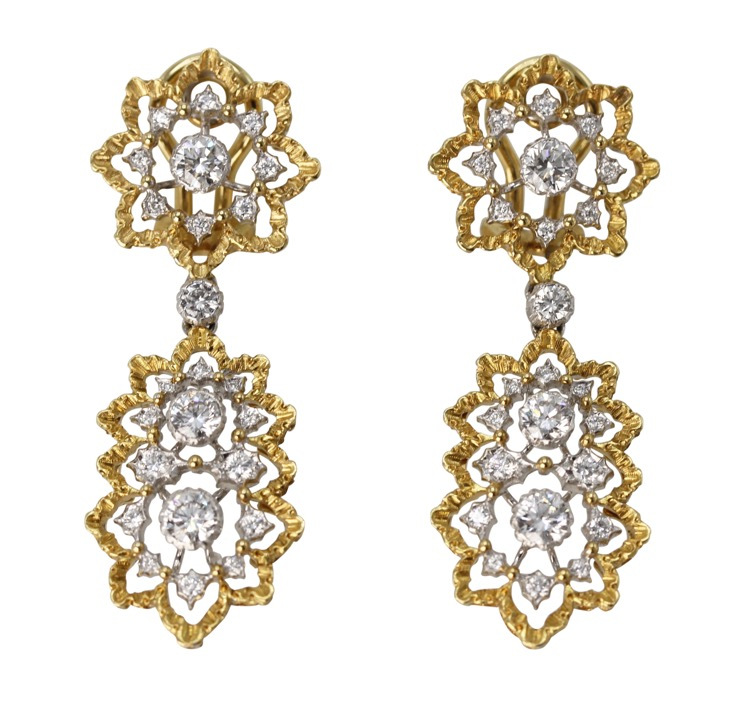 Pair of 18 Karat Two-Tone Gold and Diamond Pendant-Earclips by Buccellati, Italy