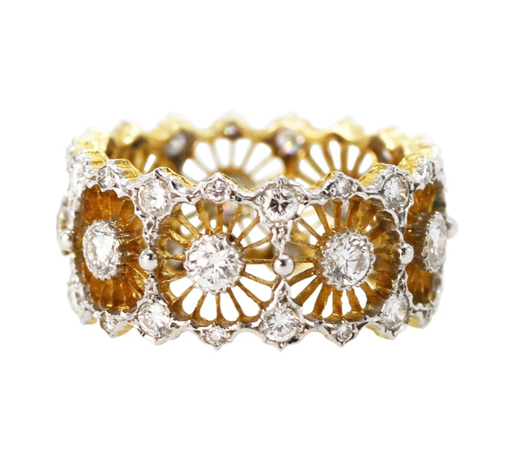 18 Karat Two-Tone Gold and Diamond Band Ring by Buccellati, Italy