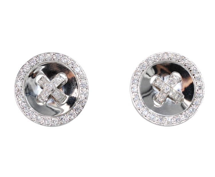 "Pair of 18 Karat White Gold and Diamond ""Buttonierre"" Earclips by Van Cleef & Arpels, France"