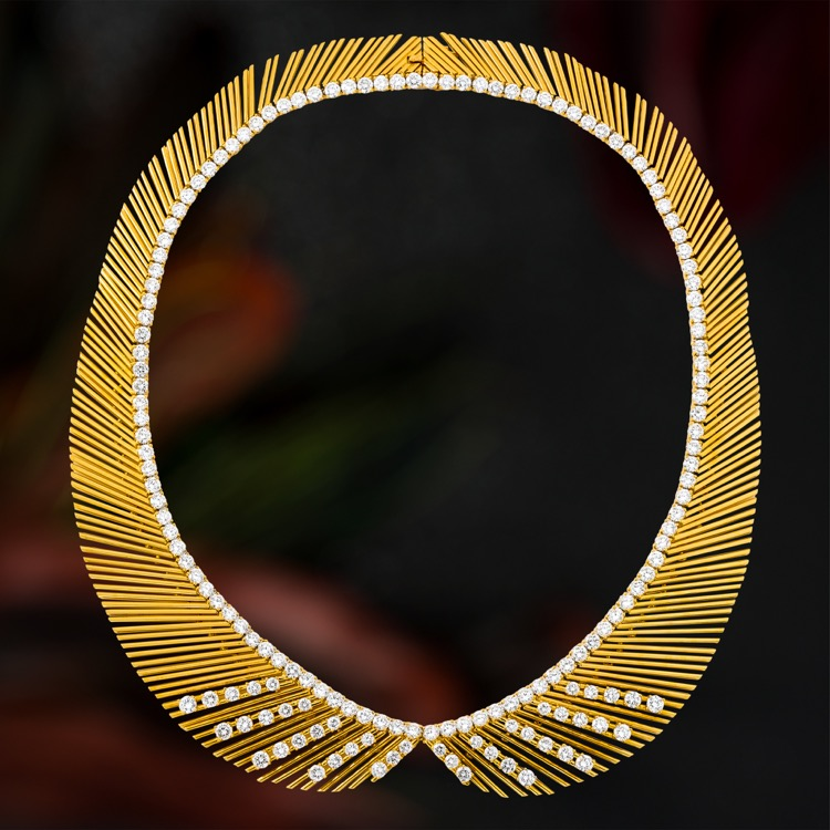 18 Karat Yellow Gold and Diamond Necklace by Louis Gerard, France, circa 1970