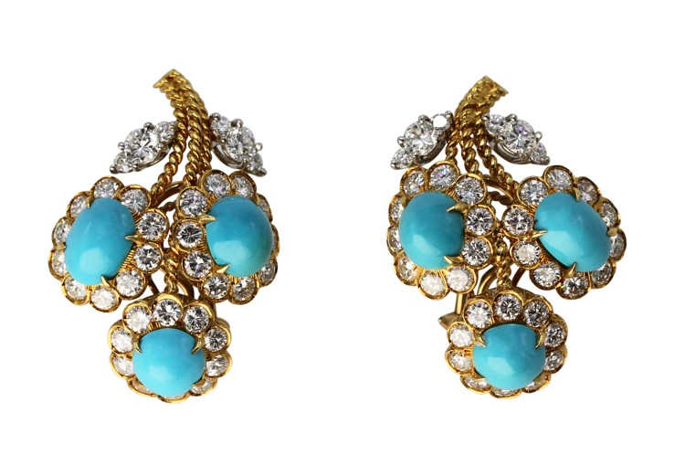 Pair of 18 Karat Gold, Turquoise and Diamond Earclips, circa 1970