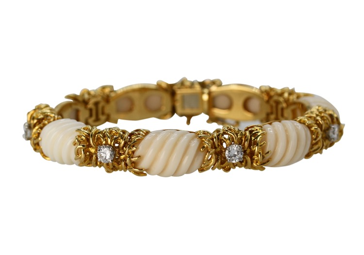 18 karat gold, fluted coral and diamond bracelet, circa 1970
