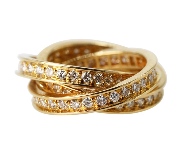18 Karat Gold and Diamond Trinity Ring by Cartier