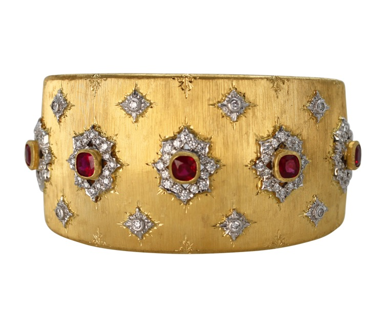 18 Karat Gold, Ruby and Diamond Bracelet by Buccellati, Italy