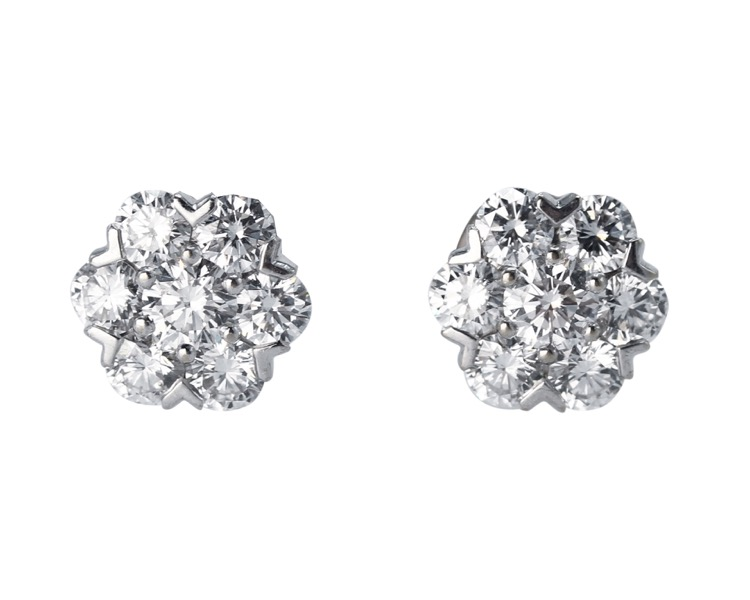 Pair of 18 Karat White Gold and Diamond \