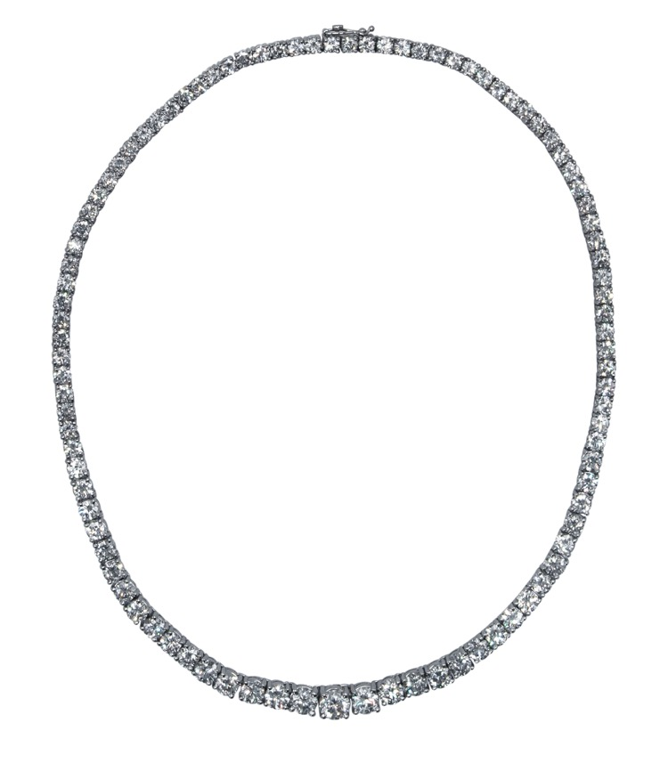 Platinum and Diamond Rivière Necklace by Mayors - Image #1