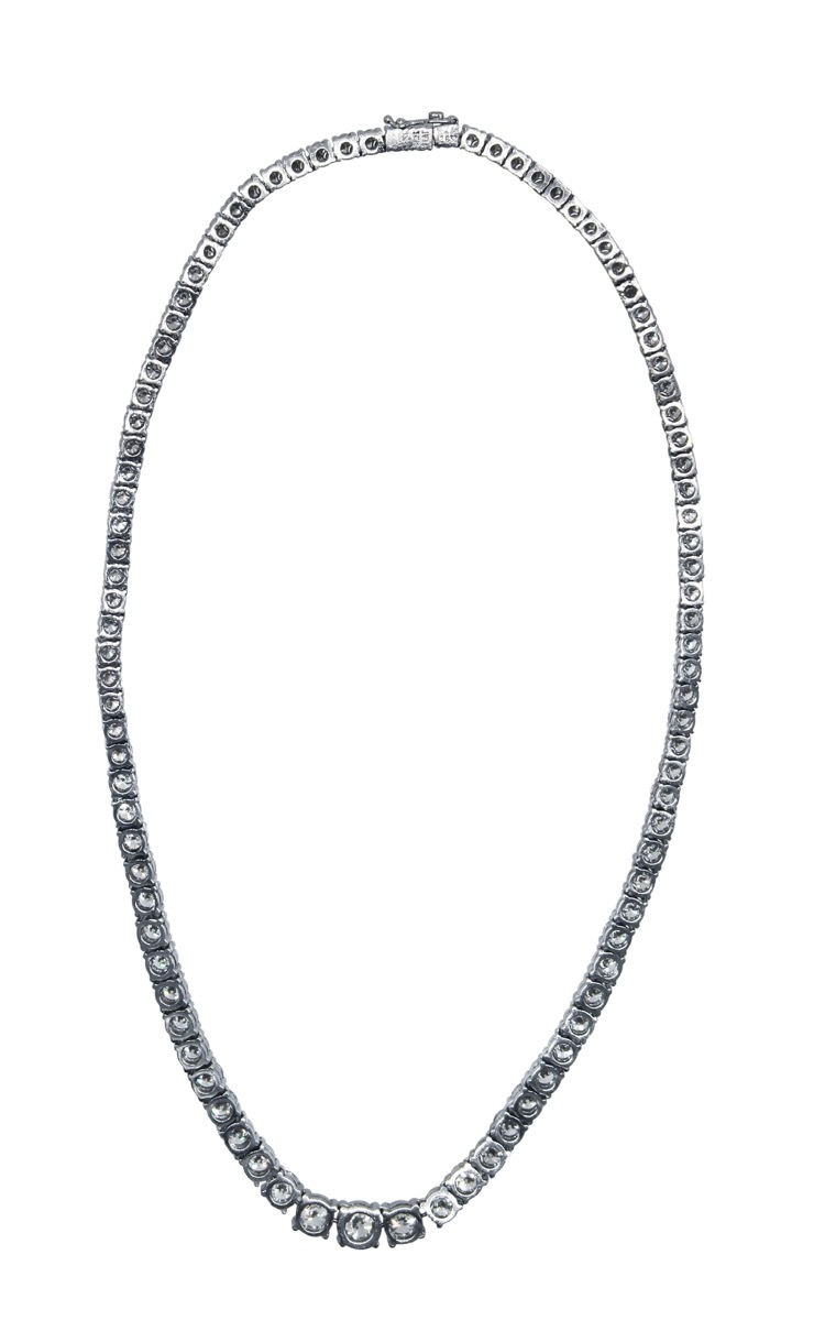 Platinum and Diamond Rivière Necklace by Mayors - Image #2