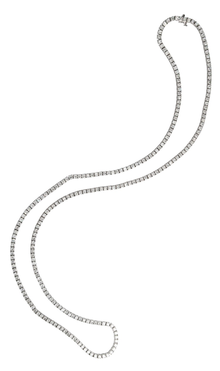 14 Karat White Gold and Diamond Longchain Necklace