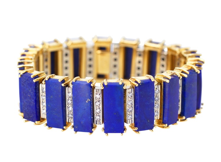 18 Karat Gold, Lapis Lazuli and Diamond Bracelet by Birks, Italy