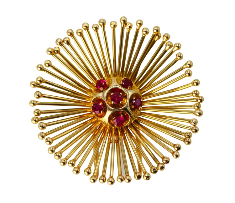 18 Karat Gold and Diamond Brooch by Cartier, France, circa 1960