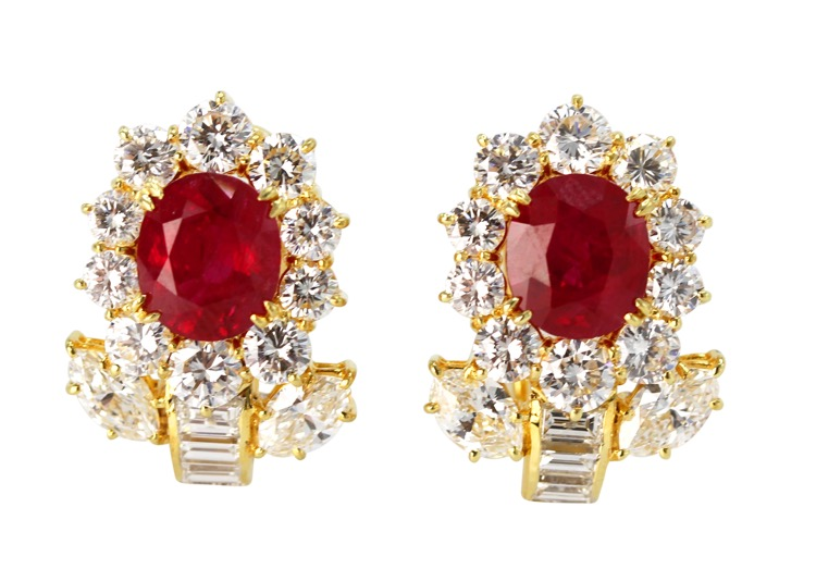 Pair of 18 Karat Gold, Ruby and Diamond Earclips