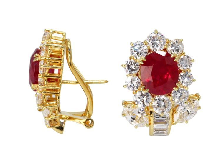 Pair of 18 Karat Gold, Ruby and Diamond Earclips - Image #2