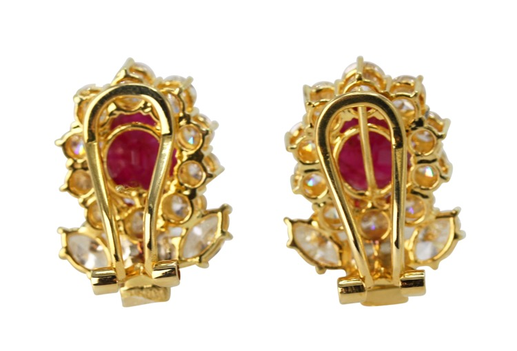 Pair of 18 Karat Gold, Ruby and Diamond Earclips - Image #3