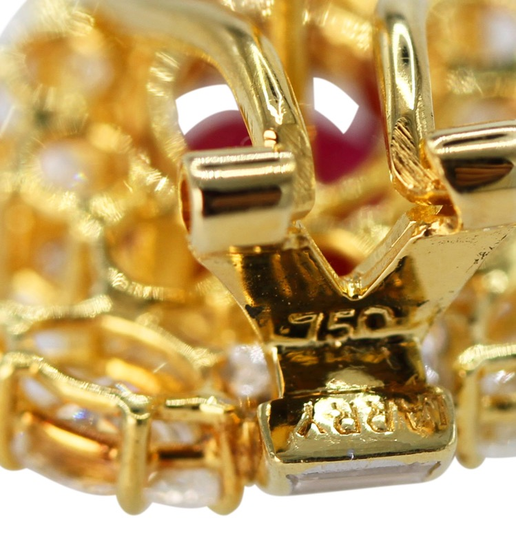 Pair of 18 Karat Gold, Ruby and Diamond Earclips - Image #4