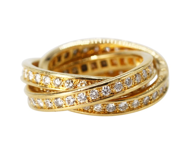 18 Karat Gold and Diamond Trinity Ring by Cartier, France