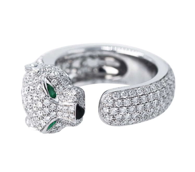18 Karat White Gold, Diamond, Onyx and Emerald Panthere Ring by Cartier - Image #12