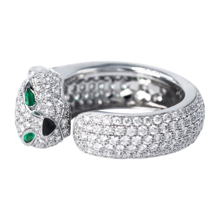 18 Karat White Gold, Diamond, Onyx and Emerald Panthere Ring by Cartier - Image #2