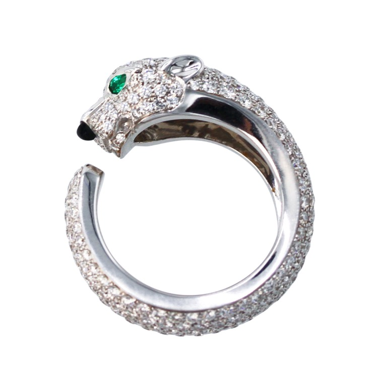 18 Karat White Gold, Diamond, Onyx and Emerald Panthere Ring by Cartier - Image #5