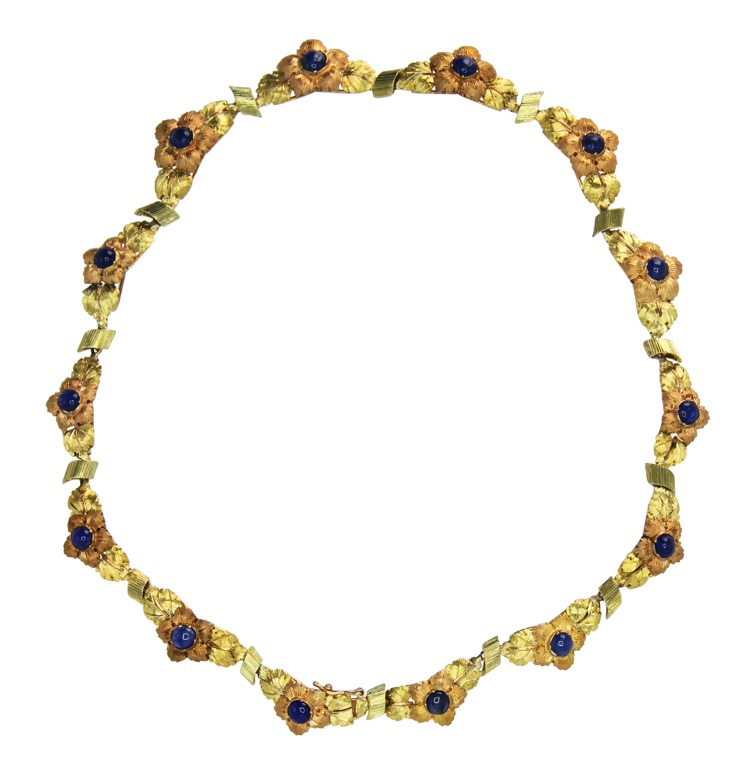 18 Karat Two-Tone Gold and Sapphire Necklace by Buccellati, Italy, circa 1960