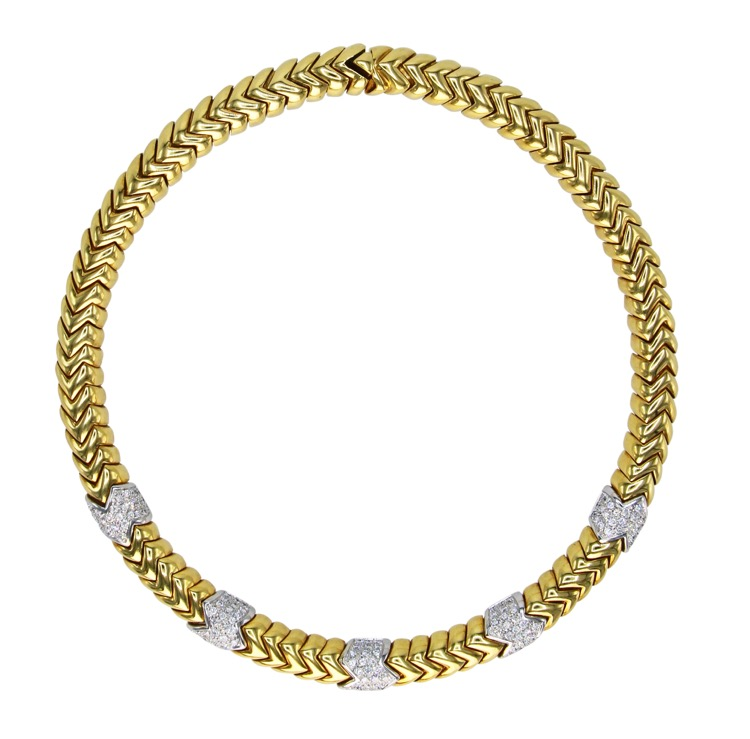 18 Karat Two-Tone Gold and Diamond Necklace