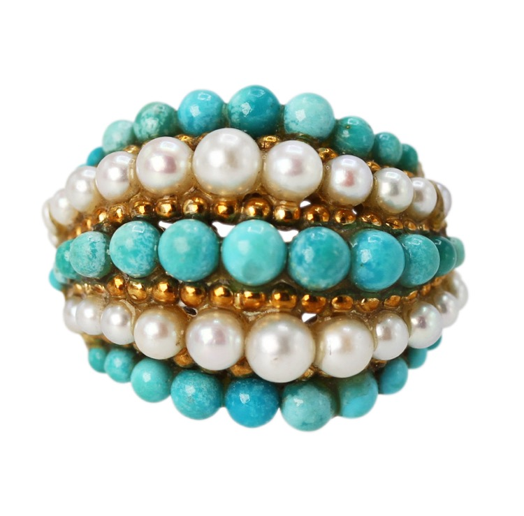18 Karat Gold, Turquoise and Pearl Ring by Van Cleef & Arpels, France, circa 1970