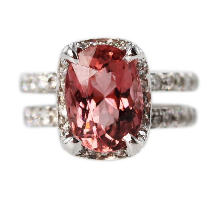 18 Karat White Gold, Pink Tourmaline and Diamond Ring