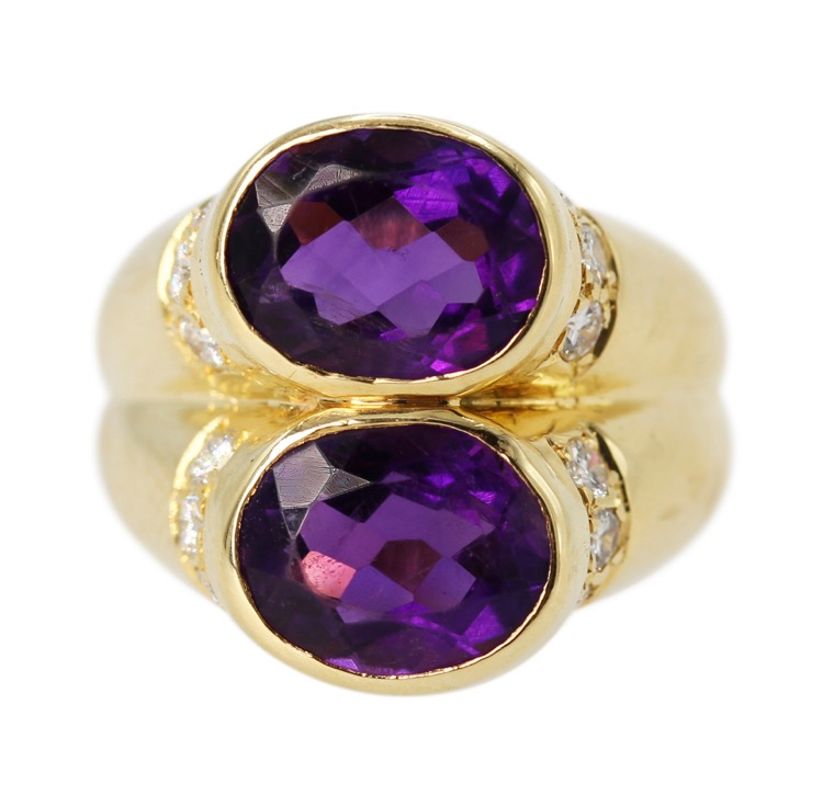 18 Karat Gold, Amethyst and Diamond Ring