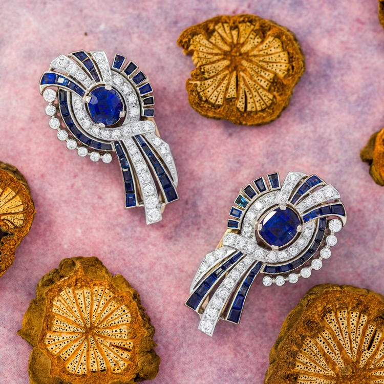 Platinum, 18 Karat White Gold, Sapphire and Diamond Double-Clip Brooch, circa 1950